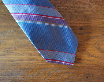 Colours by Alexander Julian silk blue purple pink striped tie vintage 1980s 80s