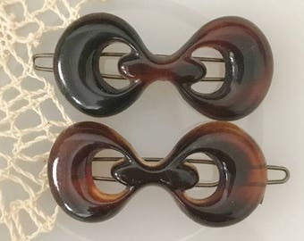 SALE ITEM Vintage 60s Hair Clips, Lucite Root Beer, Pair 2 Matching