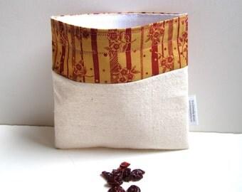 Pretty Flowers in Terracotta Eco Friendly Reusable Sandwich Bag
