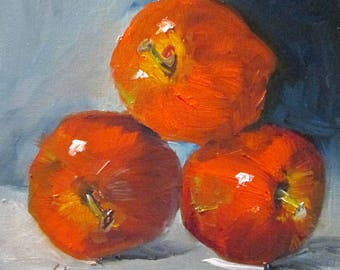 Red Apple fruit still life original oil painting 8x8 Art by Delilah