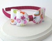 Peace Sign / Rainbow Girls Headband ~ Hard Headband ~ Toddler Headband ~ Bow Headband for Big Girls, Little Girls, Adults