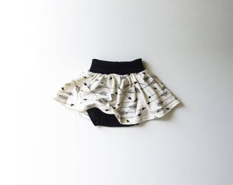 On Sale | 50% OFF | Size 6-12 Months | Organic Cotton Baby Arrow Twirl Skirt with Built in Diaper Cover| Arrows | Girl | Babies | Hipster