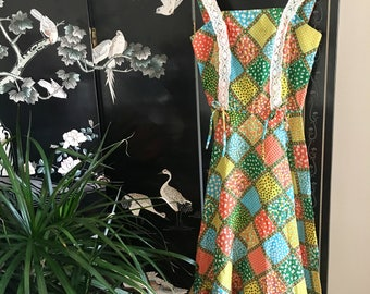 Sweet Summer Patchwork Dress //  Vintage Dress // 1970s Dress Size XS