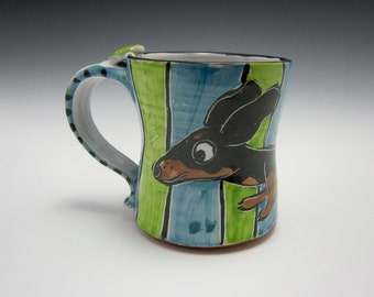 Ceramic Coffee Mug - Black and Tan Dachshund Wiener Dog - Green Blue - Majolica Mug - 14 ounces oz - Pottery Clay Mug - Pet Dog Mug - Cup