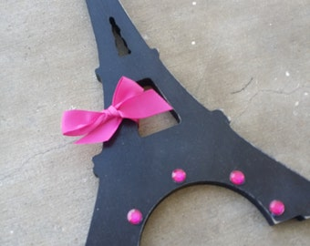 Eiffel Tower,  Paris Decor, Wooden Sign, Hot Pink and Black, Girls Bedroom ideas, Baby Girl Nursery, Parisian Theme, France, Bling
