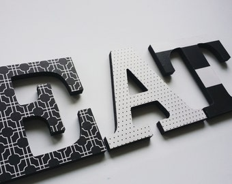 EAT Sign Wood Wall Letters Black And White Modern Kitchen Decor Geometric Prints