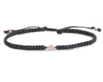 Diamond Friendship Bracelet in 14k solid gold, minimalistic jewelry