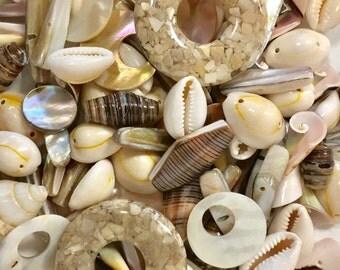 Mixed Shell Bead Lot, Assorted Shell Beads, MOP Beads, 100 Beads, Destash, Mixed MOP