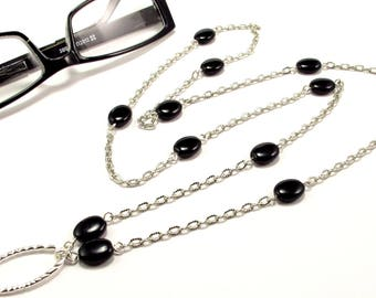 Women's Eyeglass Chain with Black Beads in Silver, Beaded Eyeglass Holder, Eyeglass Holder Necklace, Readers, Eyeglass Loop, Gift for HER