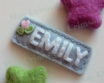 Felt hair clip -Back to school personalized bow -No slip -Wool felt -customized name/colour/size