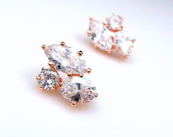 Wedding bridal earrings bridesmaid Jewelry prom pageant party statement three stone shape AAA cubic zirconia stud post rose gold earrings