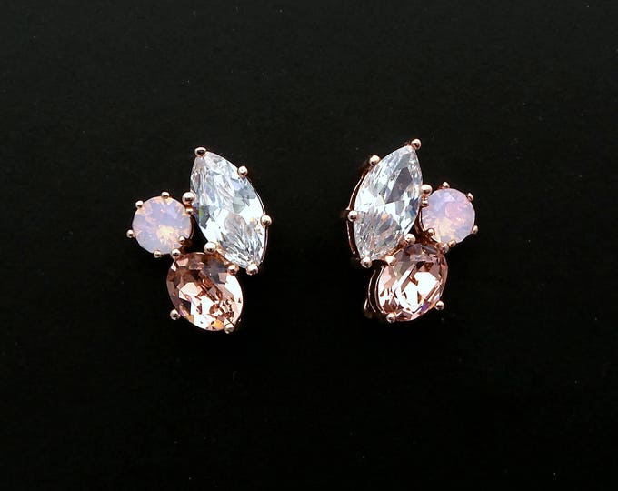 bridal wedding jewelry bridesmaid gift prom swarovski rose water and vintage rose crystal rhinestone marquise cz stud rose gold earrings