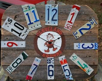 Custom Clock,Wood Clock, Hand Painted,Customized Wall Clock,Rustic Wall Clock,Sports Team Clock,License Plate Decor,boys room,Gifts for Him