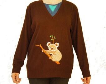 Vintage 60s-70s Embroidered Koala Sweater Retro Boho Hippie