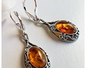 SALE 20% OFF Amber Earrings - Genuine Amber Earrings - Large Amber Earrings - 925 Sterling Silver Jewelry - Free Shipping - Silver Earrings