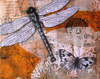 """Dragonfly - a print of an original Mixed Media collage - 8""""x 8"""""""