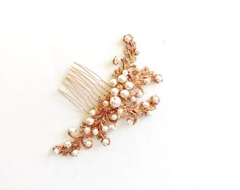 Rose gold & pearls Bridal Hair comb