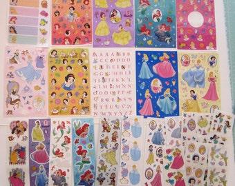 34 sheets SandyLion DISNEY PRINCESS STICKERS - some partial