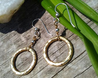 Brass Hammered Hoops