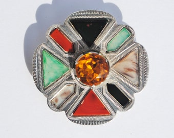 Vintage 1950 Ward Brothers Scottish Agate & Sterling Silver Brooch - Agate, Scottish Agate, Ward Brothers, Scotland, Pebble Brooch