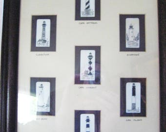 1994 Richard Burgess scrimshaw piano key North Carolina Lighthouses-framed