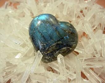 Labradorite Spectralite Heart Shape Stone Ritual Talisman Healing Iridescent 16T32 B