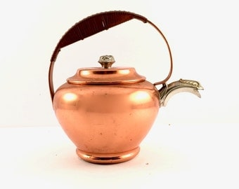 Vintage Copper Teapot with Silver spout and Ratan wrapped handle