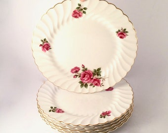 "Set of 6 Snowhite Regency Johnson Bros Ironstone Floral Luncheon Plates 8.75"""