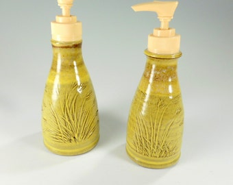 Pottery soap and lotion set of 2 - ceramic soap pump - pottery lotion pump - stoneware lotion pump - detergent pump - carved grasses