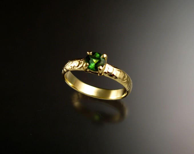 Green Tourmaline Wedding ring 14k Green Gold Victorian Floral Pattern Emerald substitute Engagement ring made to order in your size