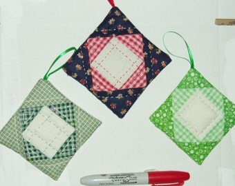 Miniature Quilts, Set of 3, Hand Quilted Square in Square Traditional Quilt Pattern, 4X4 Inches, Hanging Loop, Appalachian Made