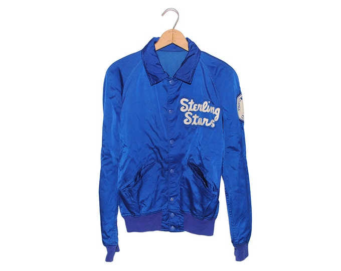 "Vintage Royal Blue ""Sterling Stars"" Precision Corps Square Dancing Satin Jacket Made in USA - Medium(OS-JKT-1)"