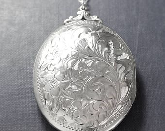 Extra Large Sterling Silver Locket Necklace, Deep Oval Hinged Photo Locket Forget Me Not Flowers - Swirling Vines