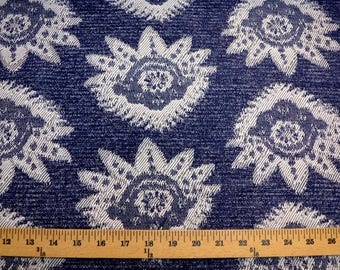 Navy Damask Fabric