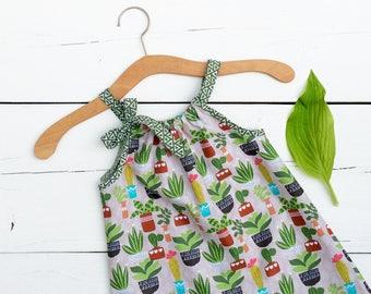 Boho Girls Dress, Baby Cactus Dress, Little Girls Dress, Girls Summer Dress, Girls Sun Dress, 2t Baby Girl Dress, Cotton Girls Dress