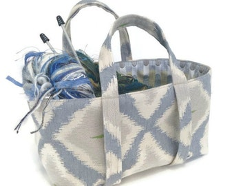 Small Knitting Bag Blue Taupe Ikat Bag Upholstery Tote Sock Knitters Bag Lined Bag Small Tote Inside Pocket Project Bag