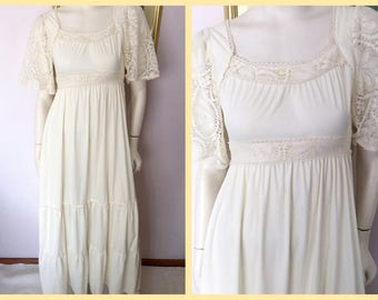 Vintage 70s Cream Lace Maxi Dress by Jody T.Small.Bust 34/36.Waist 28.