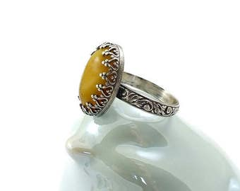 Yellow amber retro ring, metalwork ring, oval ring, sterling silver jewelry, gemstone ring