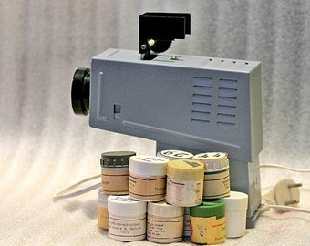 Vintage Russian Overhead Film Projector Filmoscop Slide Filmstrip for Kids Children Working 25 film strips 1980s Soviet Russia USSR