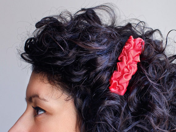 Bright pink fabric french barrette hair clip