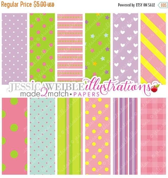 ON SALE Birthday Girl Cute Digital Papers for Card Design, Scrapbooking, and Web Design