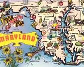 Vintage Maryland USA Map Souvenir Postcard Unused