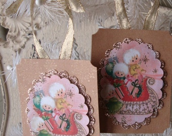Christmas gift tags Vintage Christmas card paper ornament party favors Pink and gold glittered cute angels card scrap tags