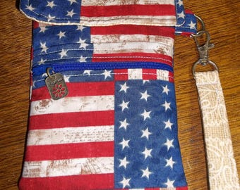 Red, White, and Blue Cell Phone Case/Wristlet
