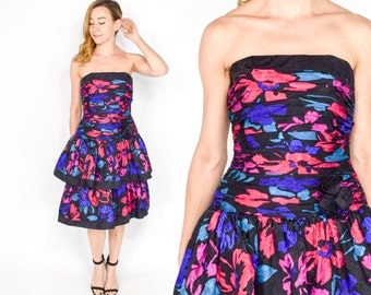 80s Party Dress | Colorful Black Silk Print Strapless Evening Prom Dress | Medium