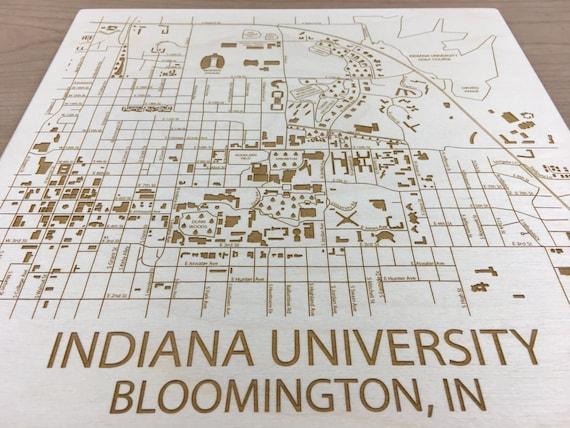 Indiana University Map Bloomington Indiana U Alum Engraved