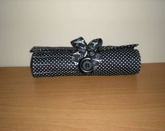 Handmade Brush roll black white polka dots print holds 13 brushes and more suits 6 and 8 inch brushes machine washable Accessory