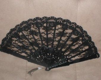Vintage Black Chantilly Lace Folding Fan