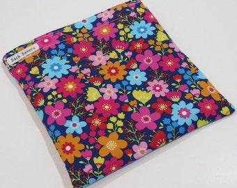 Reusable Sandwich Bag or Reusable Snack Bag Pretty Bright Floral Sandwich Snack Bag