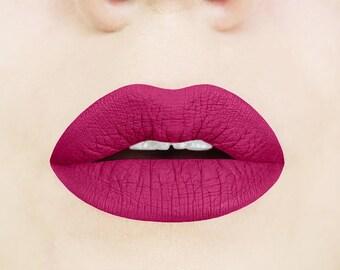Forbidden Fuchsia Matte Liquid Lipstick. Berry Lipstick. Purple. Liquid to Matte Lipstick. Vegan. Cruelty-free. Makeup. Glossy to Matte.
